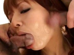 Rin Yuuki double blowjob with deep throat