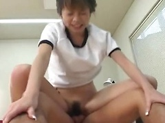 Sexy petite Miku takes on two guys in her gym shorts