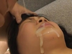 Hikaru Momose Asian babe spreads her legs for a creampie