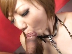 Sexy Japanese slut in chains gets deep throated