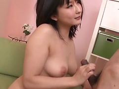 Appetizing Asian babe Megumi Haruka caresses and sucks lucky cock