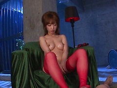 Amazing dick caressing by sexy Sana Anzyu in hot red stockings