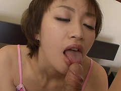 Naughty Akina Hara realizes her dirty dreams getting dick in her hairy pussy