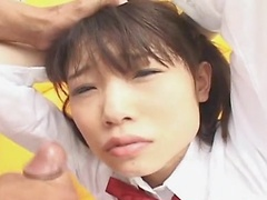 Riku Shiina gives hot blowjob while playing