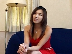 Mikami Syouko lets guys come up to her and cum in her mouth as she collects the warm cum in a glass