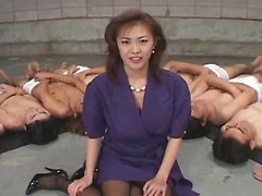 Mature woman Yukari Sakurada gives blowjobs  masturbates with a dildo  gets fucked & gets bukkake cumshots on her face.