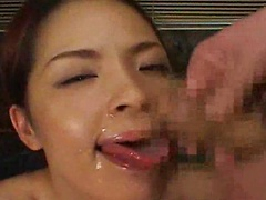 Mihi Suzuki sucks cocks  dildo fucks herself  and has sex while a group of guys