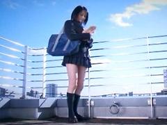 Azumi in her school uniform jerking off cocks  giving blowjobs  masturbating  getting her pussy eaten