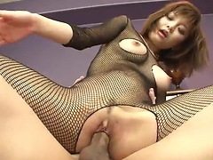 Rough pussy pounding action for Yumemi Tachibana in fishnet uniform