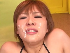 Awesome Tsubasa Aihara squirts with thick sperm on her face