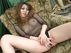 Yuria Kano takes off her sexy black panties and masturbates