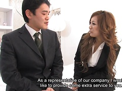Office lady Aiko Nagai in a kinky threesome
