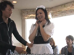 Maid Mai Mizusawa gets both fuck holes fucked