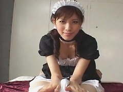 Horny Japanese maid wakes guy up with a sloppy blowjob!