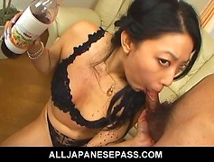 Busty slut in black undies mixes in wine with cum