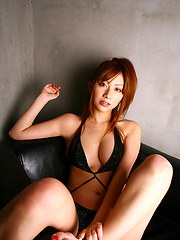 Delicious long haired asian babe in a black slinky bikini - Japarn porn pics at JapHole.com