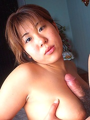 Shy Japanese coed with big boobs titfucked - Japarn porn pics at JapHole.com
