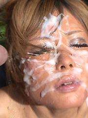 Huge facial bukkake for asian babe - Japarn porn pics at JapHole.com