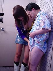 Cute Japanese teenage girlie sucking off a senior penis - Japarn porn pics at JapHole.com