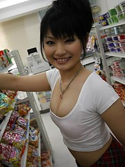 Hot babe Akane Ozora sucks cock in a grocery