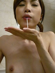 Chinatsu Izawa deep throating two hard cocks - Japarn porn pics at JapHole.com