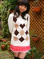 Miki undress her pink panties and demonstrates smooth vagina - Japarn porn pics at JapHole.com