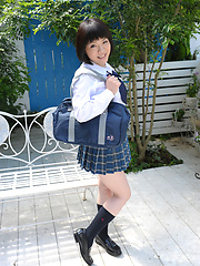 Japanese schoolgirl Kaori posing outdoor after lessons