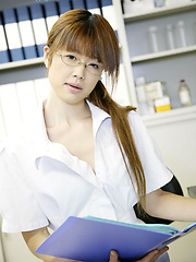 Innocent asian teen girl in glasses Rin Kitagawa