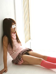 Sexy japanese girl in pink socks