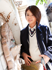 Tsubasa Akimoto Asian in sexy uniform enjoys her way to school - Japarn porn pics at JapHole.com