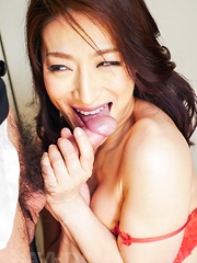 Marina Matsumoto takes office suit off while sucking boss cock - Japarn porn pics at JapHole.com