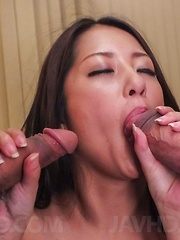 Satomi Suzuki sucks tools and has cum pouring from hairy cooter - Japarn porn pics at JapHole.com