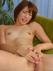 Seira Matsuoka puts vibrator on shaved cunt and exposes it a lot