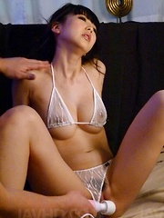 Riisa Minami is fucked with sex toys and gets cum on big hooters - Japarn porn pics at JapHole.com