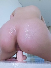 Arisa Nakano fondles cans while riding dildo with oiled cooter - Japarn porn pics at JapHole.com