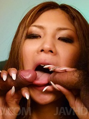 Miku Kohinata arouses her twat and fills mouth with dicks and cum - Japarn porn pics at JapHole.com