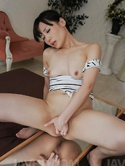 Tsukushi Asian gets cumshot on shaved pussy after sucking tools - Japarn porn pics at JapHole.com
