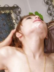 Ayaka Fujikita shows tongue with cum after sucking two woodies - Japarn porn pics at JapHole.com