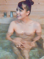 Yui Oba Asian undresses and licks and sucks penis in bathtub - Japarn porn pics at JapHole.com