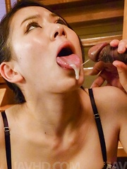 Kei Akanishi with nude cunt gets cum from three sucked boners - Japarn porn pics at JapHole.com