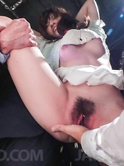 Kanako Iioka is tied and aroused with two vibrators till cums
