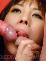 Hina Tokisaka licks dongs and squeezes them between her hooters - Japarn porn pics at JapHole.com