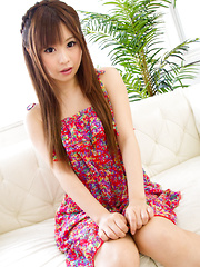 Sexy Japanese nymphet Mikuru strips down to her bead thong and gently suckles a shiny dildo while touching herself erotically on the couch! - Japarn porn pics at JapHole.com