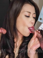 Maki Hojo has two type of sperm on her tongue from sucked dicks - Japarn porn pics at JapHole.com