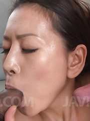 Rei Kitajima puts vibrator on clit and gets cock in her mouth - Japarn porn pics at JapHole.com
