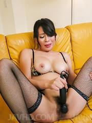 Rei Kitajima busty in fishnets gets cum from sucked joysticks - Japarn porn pics at JapHole.com