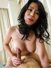 Rei Kitajima gets tongue on hairy labia and dick between them - Japarn porn pics at JapHole.com
