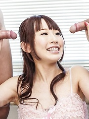Yui Misaki Asian with hot chest licks two tools and gets cumshot - Japarn porn pics at JapHole.com