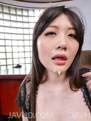Rie Tachikawa with huge melons licks two hard shlongs at once - Japarn porn pics at JapHole.com