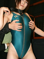 Lycra asian girl in the cage gets cock